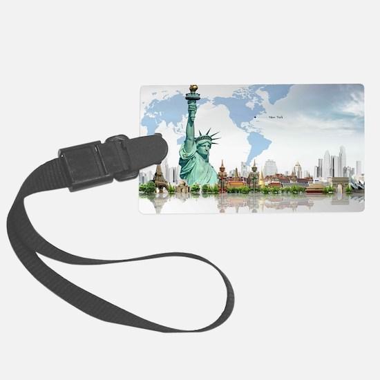 Lady Liberty World Map Luggage Tag
