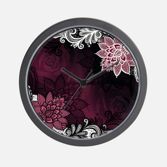 Lace & Roses Wall Clock