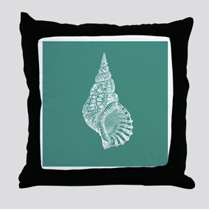 Turquoise Conch shell Throw Pillow