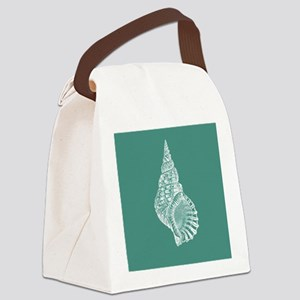 Turquoise Conch shell Canvas Lunch Bag