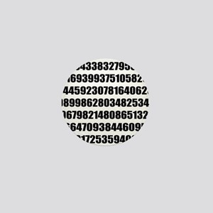 Pi number to many decimal places Mini Button