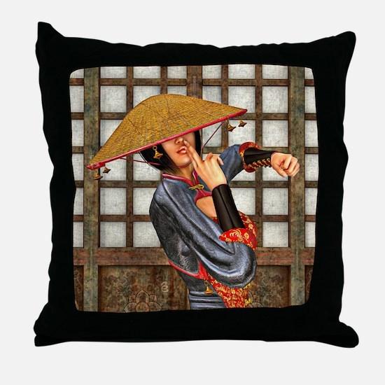 Asian Battle Woman Throw Pillow