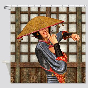 Asian Battle Woman Shower Curtain