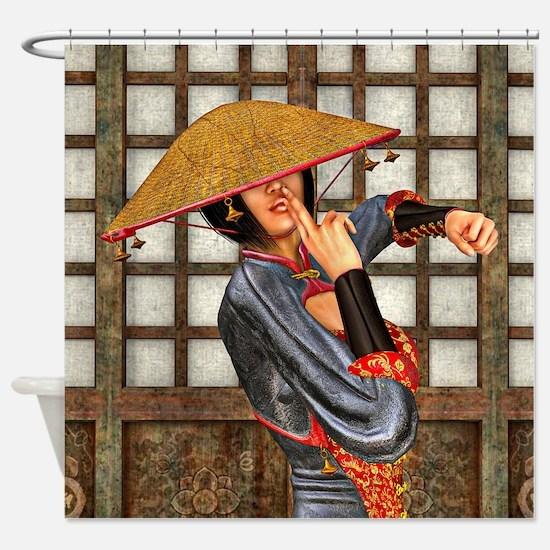 Asian Battle Woman Shower Curtain