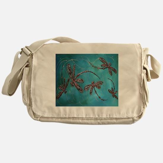 Dragonfly Flit Teal Messenger Bag