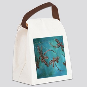 Dragonfly Flit Teal Canvas Lunch Bag