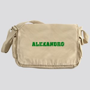 Alexandro Name Weathered Green Desig Messenger Bag