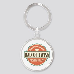 Dad Of Twins Round Keychain