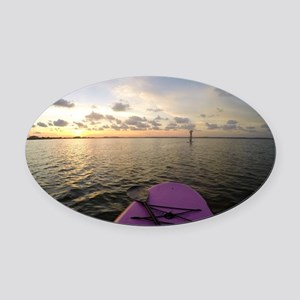 Paddle sunset Oval Car Magnet