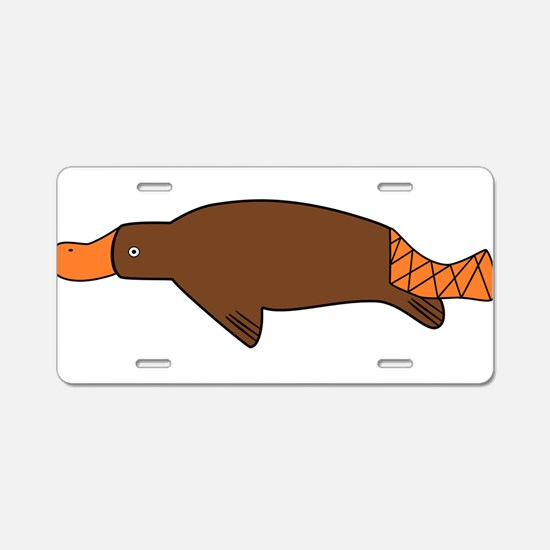 Cartoon Platypus Aluminum License Plate