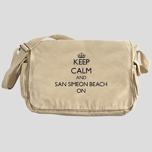 Keep calm and San Simeon Beach Calif Messenger Bag