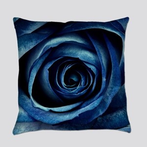 Decorative Blue Rose Bloom Everyday Pillow
