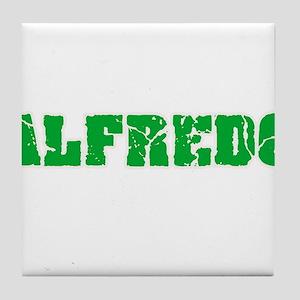 Alfredo Name Weathered Green Design Tile Coaster