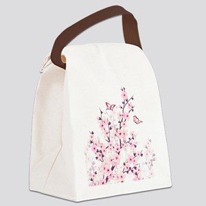 Cherry Blossoms And Butterflies Canvas Lunch Bag