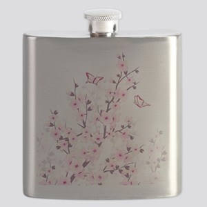 Cherry Blossoms And Butterflies Flask