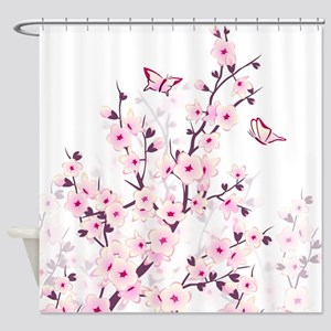 Cherry Blossoms And Butterflies Shower Curtain