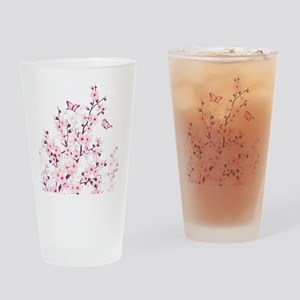Cherry Blossoms And Butterflies Drinking Glass