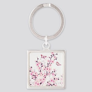Cherry Blossoms And Butterflies Square Keychain