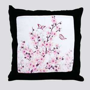 Cherry Blossoms And Butterflies Throw Pillow