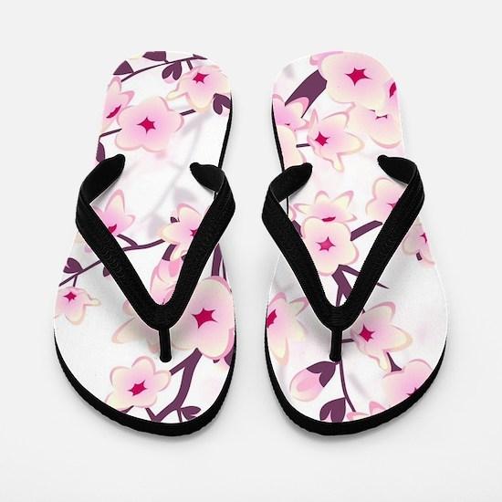 Cherry Blossoms And Butterflies Flip Flops