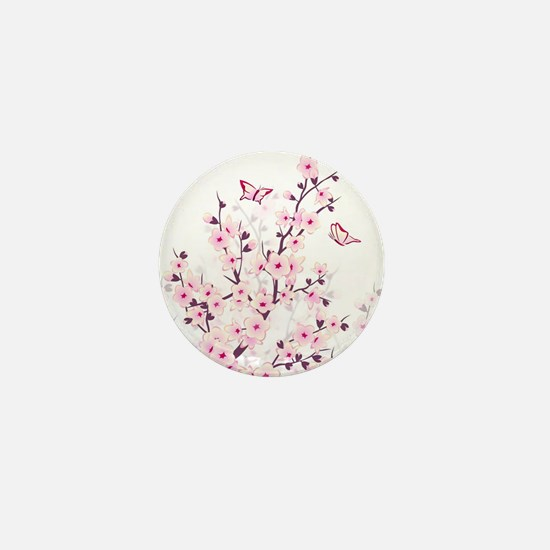 Cherry Blossoms And Butterflies Mini Button