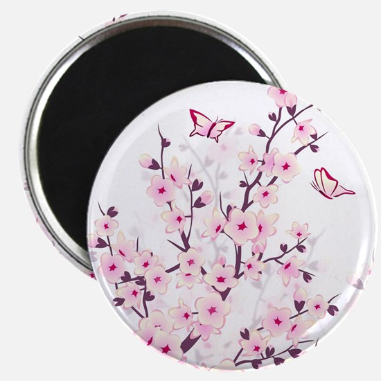 Cherry Blossoms And Butterflies Magnet