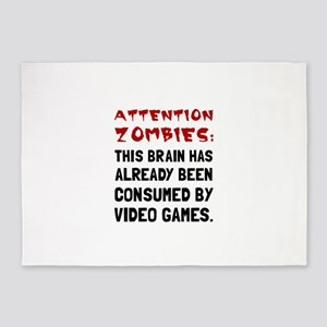 Attention Zombies Video Games 5'x7'Area Rug