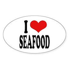 I Love Seafood Oval Sticker