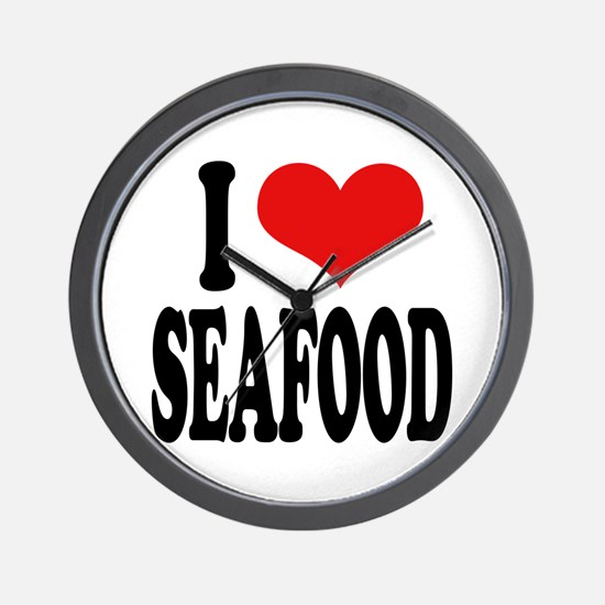 I Love Seafood Wall Clock