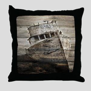 rustic boat beach nautical  Throw Pillow