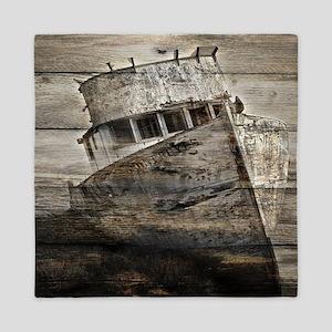 rustic boat beach nautical  Queen Duvet