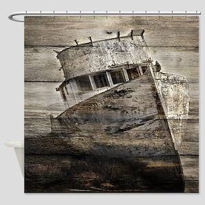 rustic boat beach nautical  Shower Curtain