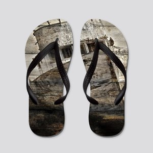 rustic boat beach nautical  Flip Flops