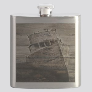 rustic boat beach nautical  Flask