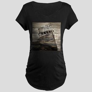 rustic boat beach nautical Maternity T-Shirt