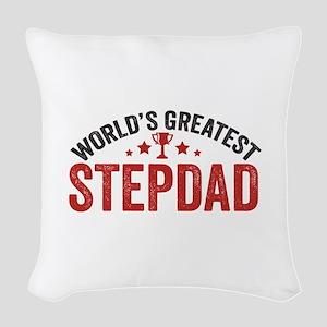 World's Greatest Stepdad Woven Throw Pillow