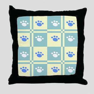 Checkered Paw Throw Pillow