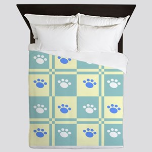 Checkered Paw Queen Duvet
