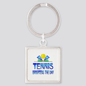 Tennis Brightens the Day Square Keychain