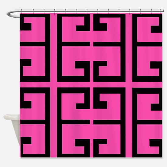 Hot Pink and Black Tile Shower Curtain