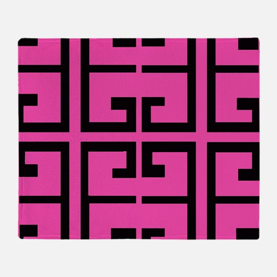 Hot Pink and Black Tile Throw Blanket