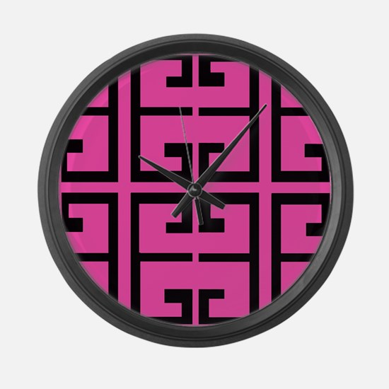 Hot Pink and Black Tile Large Wall Clock