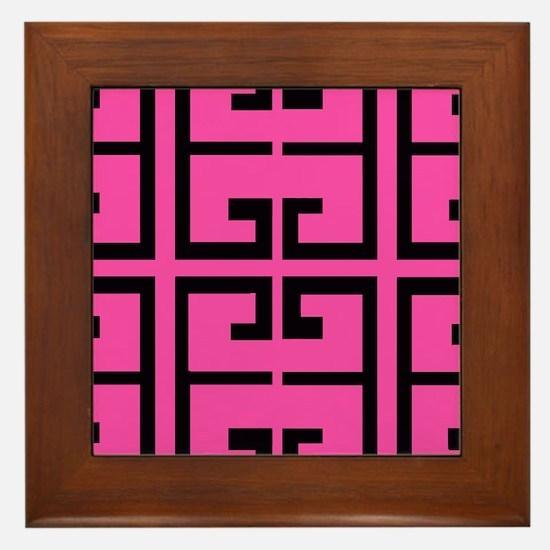 Hot Pink and Black Tile Framed Tile