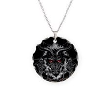 Black Metal Baphomet Pentagr Necklace Circle Charm