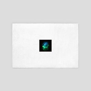 Glowing Neon Green & Blue Swirls 4' x 6' Rug