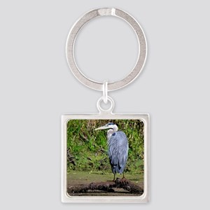 Great Blue Heron Square Keychain