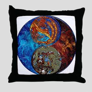 Harvest Moons Firebird & Dragon Throw Pillow