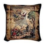 Medieval Spirit Minstrels Woven Throw Pillow