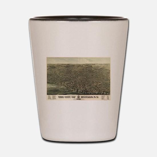 Vintage Pictorial Map of Buffalo New Yo Shot Glass