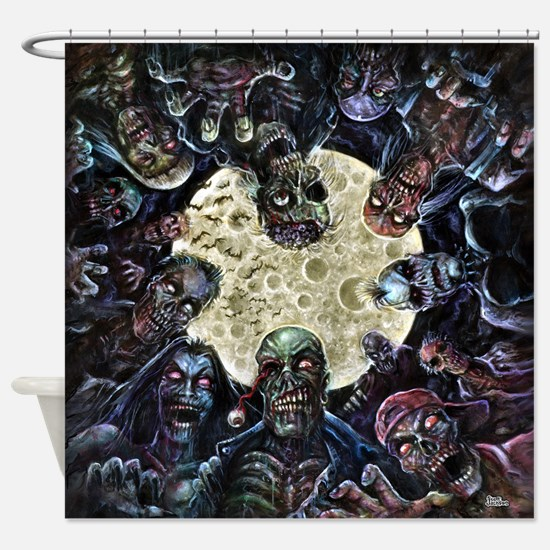 Zombies Full Moon Attack Shower Curtain